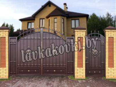 """Ворота """"Античные"""" Лев в ромбе"""